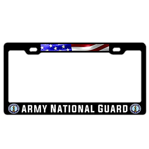 US Army National Guard US Flag Universal Black Metal License Plate Frame Holder Cover - Humor Car Tag Cover 2 Hole and Screws US ()