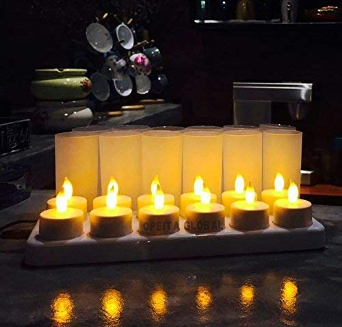 Opeita Rechargeable Candles (12 Pack), Flickering LED Tea Lights,Flameless Candle Light, Premium LEDs In High Brightness, Long Lasting 10~12 hours, Ideal For Restaurants,Coffee Shops,Hotel and Home