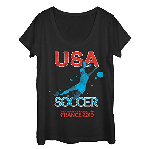 (Fifth Sun Junior's FIFA Women's World Cup France 2019 USA Scoop Neck T-Shirt, Black, Large)