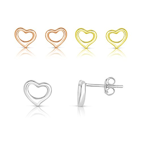 14K-Yellow-GoldRose-GoldRhodium-Plated-925-Sterling-Silver-Openwork-Hollow-Heart-Symbol-Stud-Earrings