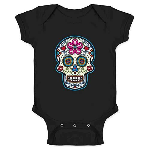 Sugar Skull Dia de Los Muertos Horror Retro Black 6M Infant Bodysuit -