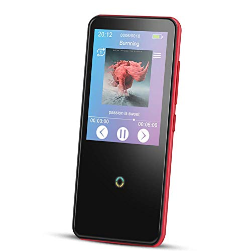 16GB MP3 Player with Touch Screen,AGPTEK Bluetooth 4.0 Lossless Music Player with 2.4″ TFT Screen Supports FM Radio Voice Recording, Red(C10)