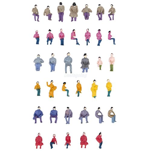 SHALLEN 50 Painted Model Train Railway Seated People Passengers Figures 1:87 HO Scale