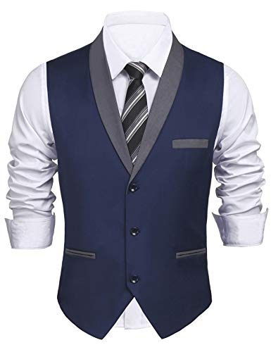 Daupanzees Mens Business Suit Vest Slim Fit 3 Pockets 3 Buttons V-Neck Wedding Sleeveless Button Down Waistcoat (Navy Blue L) by Daupanzees (Image #6)