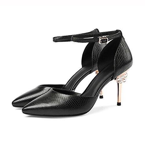 de Verano 02 Ms EU39 Tacones CN39 Zapatos Tamaño UK6 Moda colores Hollow Sandalias altos tacón PU 01 YXINY 5CM 8 2 Color Caucho Az58qK