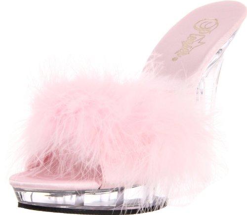 Fantastische 5 Stiletto Hak Pf Marabou Pantoffels Slippers Voor Dames Baby Roze Satijnen Vacht / Transparant