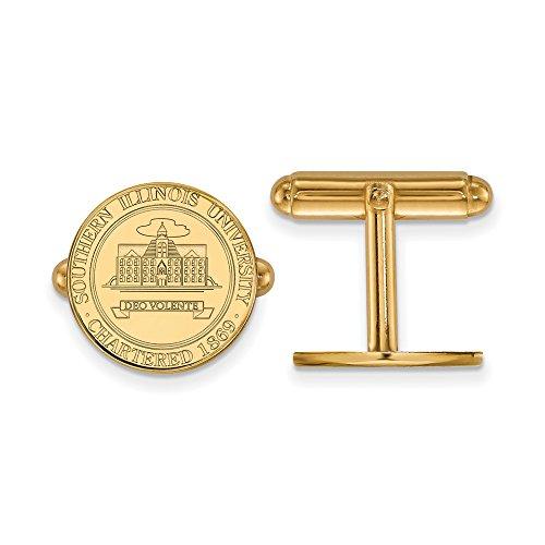 Southern Illinois Crest Cuff Links (14k Yellow Gold) by LogoArt