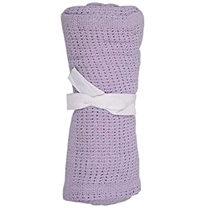 RETYLY 100% Cotton Baby Infant Cellular Soft Blanket Pram Cot Bed Mosses Basket Crib Color:Light Purple