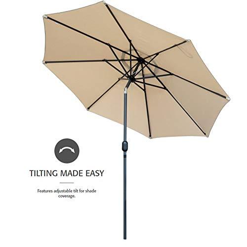 Snail 10 feet Large Outdoor Patio Umbrella Aluminum Table Market Umbrella Sun Deck Pool Parasol with Push Button Tilt, 8 Steel Ribs, Beige