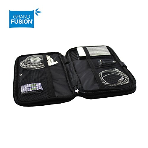 Electronic Travel Organizer - Padded travel bag with expandable zippered compartments and mesh dividers. Protects and organizes charging cables, battery packs, phones. and more