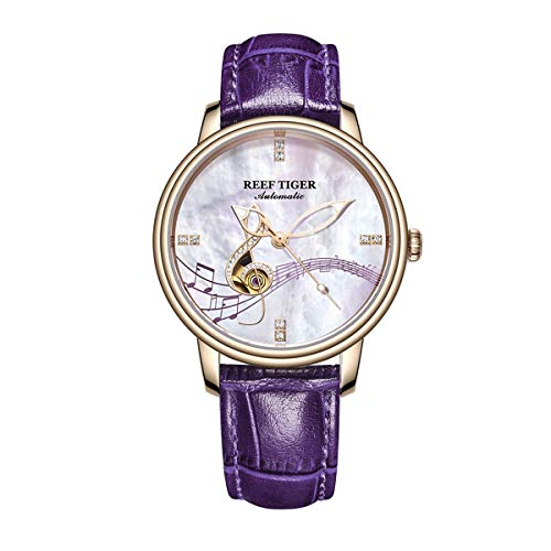 Reef Tiger Fashion Watches Womens Shell Dial Leather Strap Rose Gold Automatic Analog Watches RGA1582