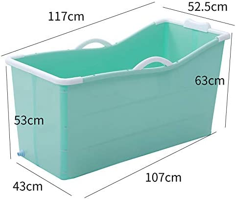 折りたたみ式バスタブひび割れ防止子供用バスタブポータブル浴槽用滑り止め/カバー付き大人用浴槽断熱浴槽浸漬バスタブPP素材全身風呂バケツトラベルバスタブ-117 * 52.5 * 63cm