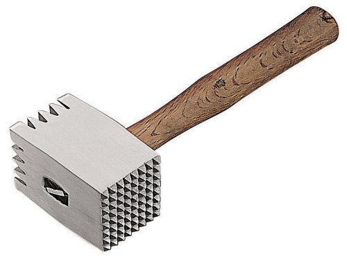 Paderno World Cuisine Meat Tenderizer with 12-1/2-Inch Wood Handle, Aluminum by Paderno World Cuisine