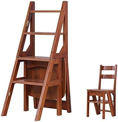 YZQ Escalera Plegable Inicio Heces,Heces Paso Trona Escalera Escalera de Madera de Pino de 4 Escalera Plegable Ensanchamiento de Seguridad Del Banco de Zapatos Estante de Almacenamiento Domésticos de: Amazon.es: Bricolaje y