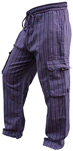 Shopoholic Fashion Mens Light Weight Stripe Hippy Combat Trouser (Purple,S)