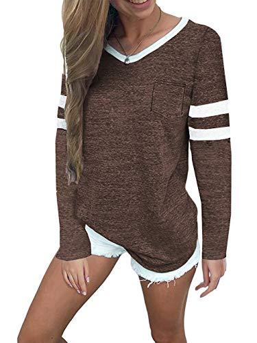 Famulily Womens Casual Raglan Tee Shirt Soft Striped Long Sleeve Knit Fall Tunic Blouse Coffee L
