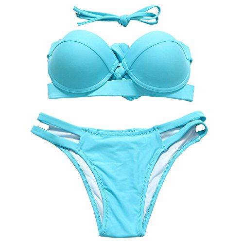 Bikini KUWOMINI.Woman Playa Clásica Cintura Baja Traje De Baño Bikini Blue