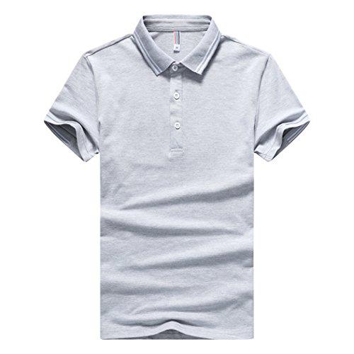 SemiAugust(セミオーガスト)メンズ 半袖 ポロシャツ おしゃれ ゴルフウェア 綿 カットソー ストレッチ 鹿の子 無地 メンズファッション スポーツ シャツ クールビス 涼しい 通勤 ビジネス ボタンダウン (グレー 3XL)