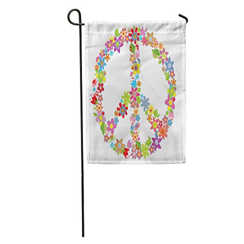 Semtomn Garden Flag 70S Peace Flower Symbol Love Power Sign Floral Clipart Circle Home Yard House Decor Barnner Outdoor Stand 28x40 Inches Flag