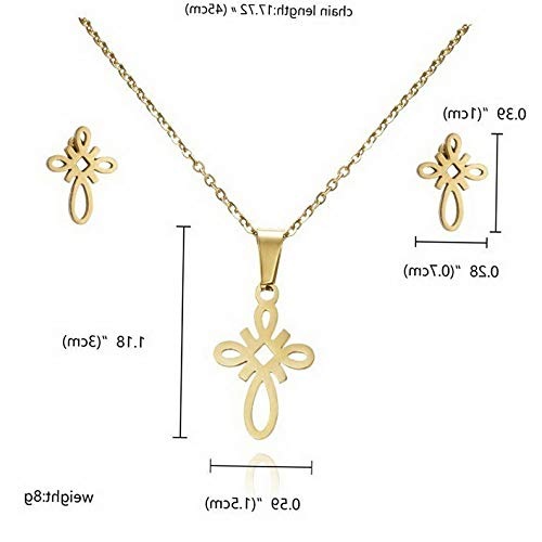 Kaputar Fashion Gold Stainless Steel Jewelry Set Women Pendant Necklace Earrings Wedding | Model NCKLCS - 17299 |