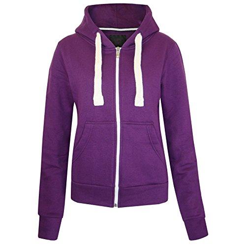 Ladies Hooded Tops (Fashion Wardrobe Womens Plain Hoodie Ladies Hooded Zip Zipper Top Sweat Shirt Jacket Coat Sweater (USA 6 / UK 6-8 (Small), Purple))