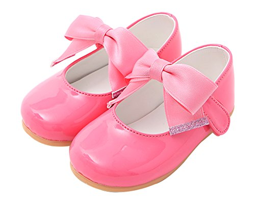 Ozkiz Prewalker Toddler Girls Cute Ribbon Bowtie Antiskid Flat Shoes PK 6M (Top Jane High Mary)