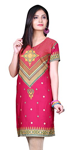 Indian Tunic Top Womens Kurti Printed Blouse India Clothing – Small, L 123