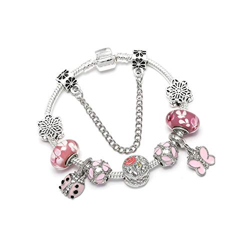 Vintage Silver Color Charms Bracelets for Women DIY Crystal Beads Bracelets Women Jewelry,Type 17,20Cm