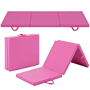 Best Choice Products 6x2ft PU Leather Foam Exercise Fitness Tri Fold Gym Floor Workout Mat for Gymnastics, Aerobics, Yoga, Martial Arts, Pilates w/ 2 Handles Pink
