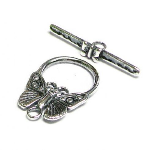 Sterling Silver Butterfly Toggle (1 set .925 Sterling Silver Butterfly toggle Clasp Bead 24mm / Connector / Findings / Antique)