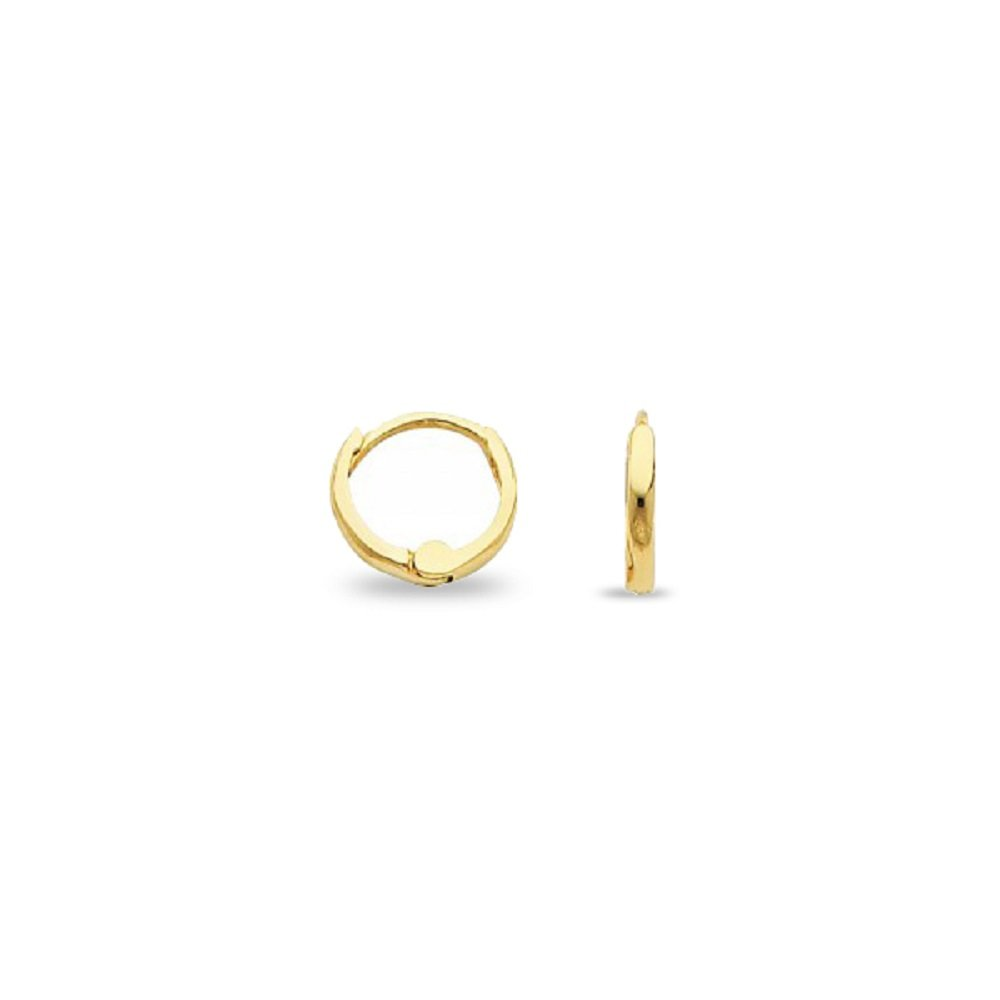 Solid 14k Yellow Gold Plain Huggie Hoop Earrings Small Round Polished Finish Genuine (Size Options) GemApex 5121757