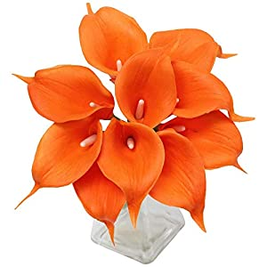 Angel Isabella, LLC 20pc Set of Keepsake Artificial Real Touch Calla Lily with Small Bloom Perfect for Making Bouquet, Boutonniere,Corsage (Tangerine Orange) 19