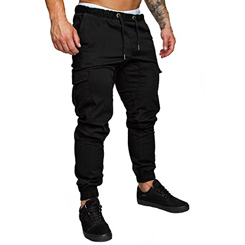 Theshy Men Sweatpants Slacks Casual Elastic Joggings Sport Solid Pockets Trousers BK/M