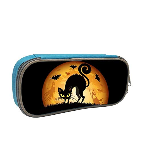 Halloween Cat Wallpaper Pencil Case Pen Bag Makeup Pouch Durable Students Print Girls Stationery with Double Zipper]()