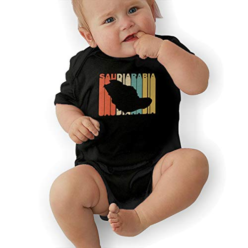 (Retro Style Saudi Arabia Silhouette Baby Clothes Newborn Girls Short Sleeve Creeper Rompers Black)