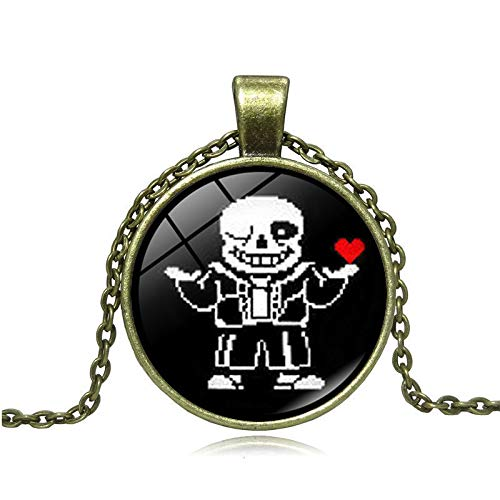 Undertale Sans Glass Necklace Jewelry Choker Pendant Necklace Vintage for Women and Men Gift
