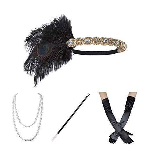 Roaring 20s Cigarette Girl (Xuhan 1920s Flapper Costume Accessories Set for Women Headband Necklace Gloves Cigarette Holder)