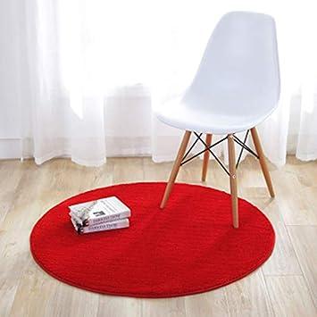 KiKom - Alfombra Redonda de Color Sólido para Sala de Estar Dormitorio Salón Estudio Canasta Colgante Silla para Computadora Alfombra para Niños - 80 cm, Rojo