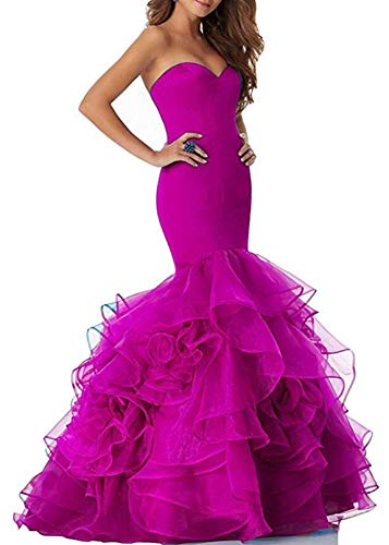 (Scarisee Women's Mermaid Trumpet Sweetheart Evening Dresses Cascading Ruffles Prom Party Gowns Formal Hot Pink 20 Plus)