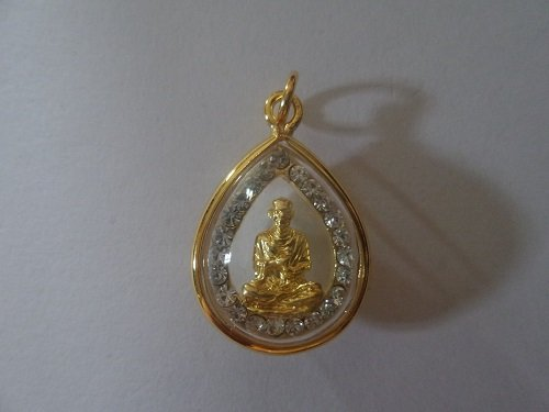 San Jewelry Pendant Necklace Buddhist Somdej Toh Rare Lucky Antique Thai Amulet Buddha Pendant Gold Plate Frame Q2091