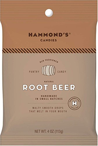 Hammond's Candies Old Fashioned Root Beer Candy All Natural Drops 4 Ounce bag (Root Beer, 4 ()