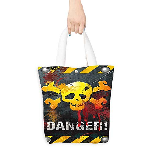 Grocery Shopping Bags with Handles Grunge Skull Plate Also a Gift for Mom W16.5 x H14 x D7 INCH ()