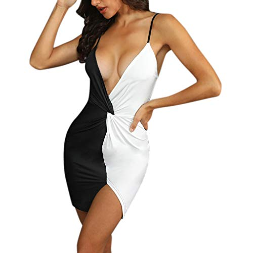 - Aniywn Women Sexy Deep V-Neck Black White Patchwork Party Dress Ladies Slim Bodycon Mini Cocktail Dress