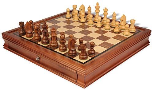 Chess German Knight Set - German Knight Staunton Chess Set Acacia & Boxwood Pieces with Walnut Chess Case - 3.75