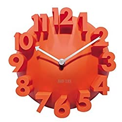 GCA 3d Big Digital Modern Contemporary Home Office Decor Round Quartz Wall Clock Orange