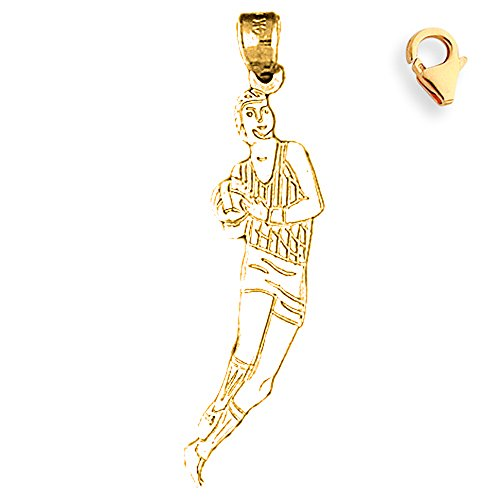 Basketball Player Charm Gold Plated - Gold-Plated 925 Silver 38mm Basketball Player 7.25