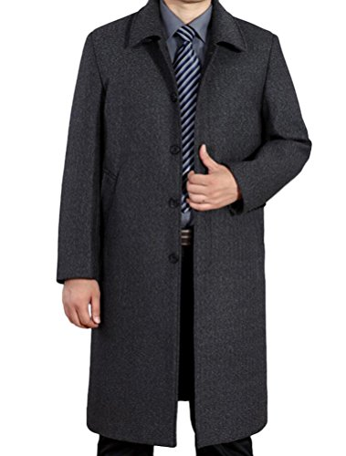 Mordenmiss Men's Wool Single Breasted Winter Trench Jacket Woolen Pea Coat Style 2 Gray L