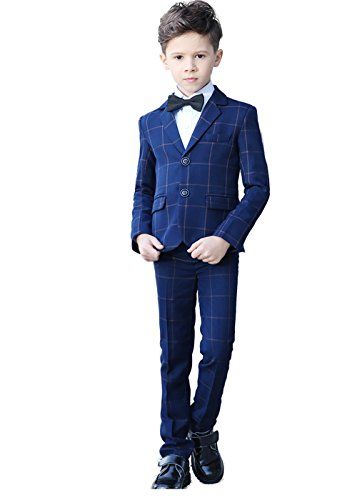 YuanLu Suits for Boys Slim Fit Kids Tuxedo Formal Wear Ring Bearer Suit Plaid Blue Size 4