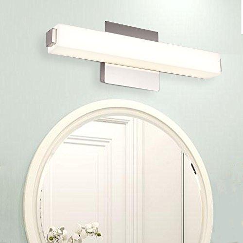 JUSHENG Wall Light 12W Neutral White 4000K LED Wall Light 16.5 Inches White Acrylic Rectangle Tube Vanity light Bathroom & Bedroom light fixtures Square Bathroom Vanity Light