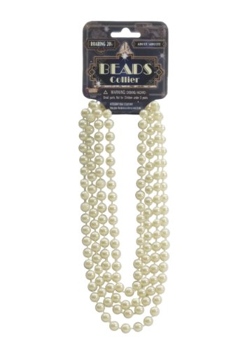 Forum Novelties - Ivory Flapper Beads Standard, Beads Collier (Flapper Apparel)